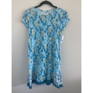 Crown And Ivy Blue Coverup Dress Seahorse NWT